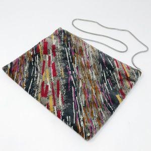 Vintage 1980s Velvet Gray Snap Shoulder Bag Purse